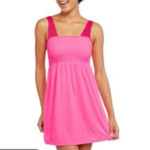 OP hot pink smocked top swim cover dress
